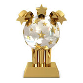 Golden trophy with stars — Stock Photo