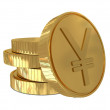 Yen sign in golden coin — Stock Photo