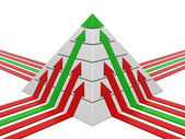Pyramid chart with arrows — Stock Photo