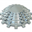 Five silver gears in group — Stock Photo #5314664