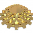 Five golden gears in group — Foto Stock