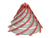 Cone chart red-white with spiral red arrows — Stock Photo