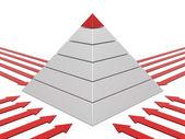 Pyramide rot-weiß — Stockfoto