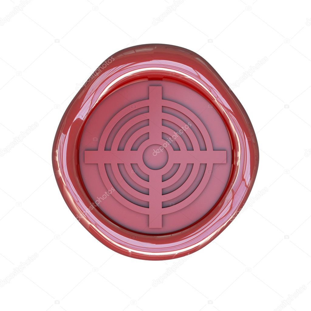 Wax seal with target sign isolated on white background — Stock Photo #5362645