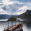 Foto de Stock  : Boat in Bled Lake in Slovenia