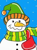 Snowman with hat — Stock Photo
