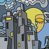 Cidades poluídas — Foto Stock