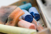 Art. pastel crayon and other art tools on neutral background macro — Stock Photo