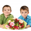 Stock Photo: Two boys with bouquet of flower