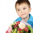 One boy with bouquet of flower — Stock Photo #4882568