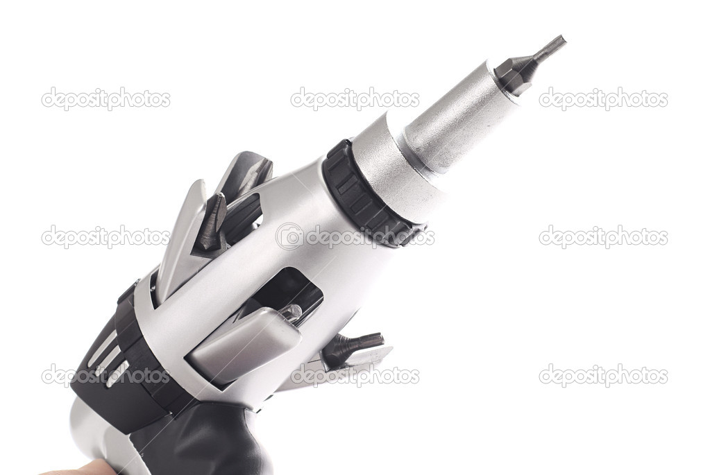 Screwdriver in shape of drill over pure white background — Stock Photo #4993660