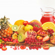 Fresh fruits and red juice - Stock Photo