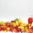 Fresh fruits and red juice — Stock Photo #3956926