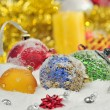 Stock Photo: Christmas baubles and ribbons