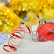 Christmas baubles and ribbons — Stock Photo