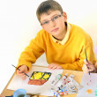Boy painting — Stock Photo