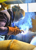 Welding with mig mag method — Stock Photo