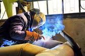 Welding with mig mag method — Fotografia Stock