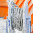 Frozen ship cable - Stock Photo