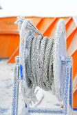 Frozen ship cable — Stock Photo