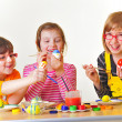 Girls painting eggs — Stock Photo