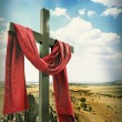 Wooden Cross with Red Cloth — Stock Photo