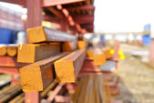 Rectangular steel bars in a pile — Stock Photo