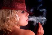 Woman with sigar closeup portrait — Zdjęcie stockowe