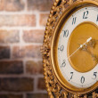 Old clock with bricks wall — Stock Photo