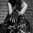 Stock Photo: Bw portrait young womwith wheel