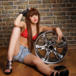 Young woman with wheel portrait - Stock Photo