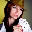 Young female with four cards — Stock Photo #4846608