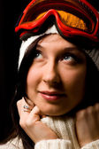 Cute Woman with white pullover and snowboardmask — Stockfoto