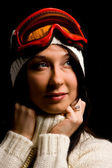Cute Woman with white pullover and snowboardmask — Stock Photo