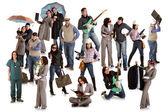 Foto van groep doen verschillende dingen — Stockfoto
