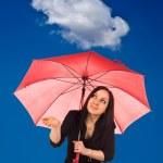 kvinna med paraply — Stockfoto