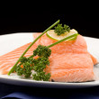 图库照片: Salmon fillet with lime