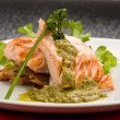 Grilled Salmon with Basil sauce - Stock Photo