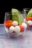 Tomato Mozzarella appetizer in glass - Caprese — Stockfoto