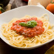 Royalty-Free Stock Photo: Pasta with tomatoe sauce and ingredients