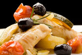Baked Cod with olives and tomatoes — Stock Photo