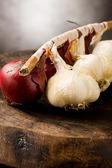 Cibule a česnek — Stock fotografie
