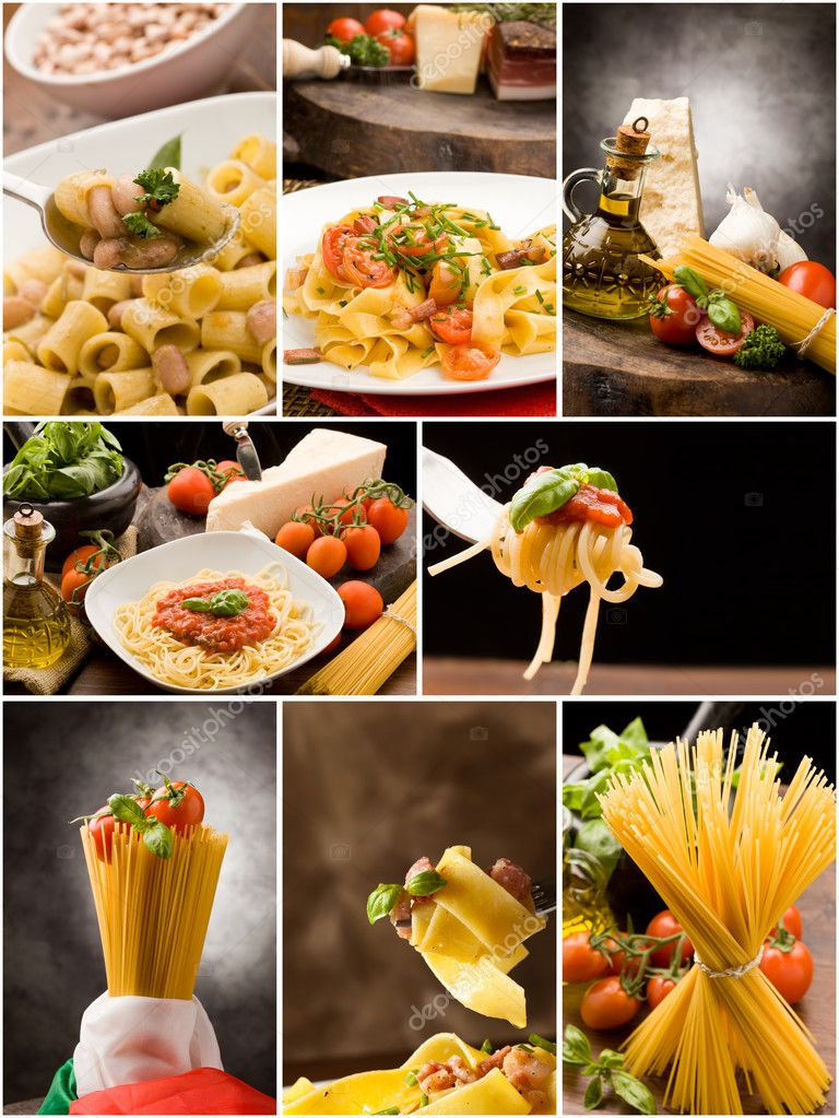 Set of different pasta photos arranged together into a collage  Stock Photo #5322300