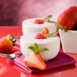 Stock Photo: Strawberry yogurt with mint leaf