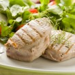 Grilled Tuna Steak with Salad — Stock Photo
