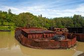 下沉的旧船 — 图库照片