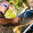 Senior Man Using a Circular Saw — Stock Photo