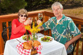 Couple Toasting the Viewer — Stock Photo