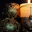 Christmas candles and balls ornaments — Stock Photo #3994264