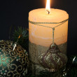 Christmas candles and balls ornaments — Stock Photo